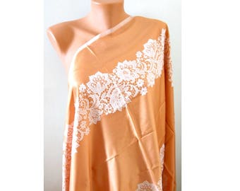 Mango peach orange scarf Champagne scarf Women fashion scarf Satin double sided scarf Soft large scarf Laser leaf scarf Oversize Pashmina