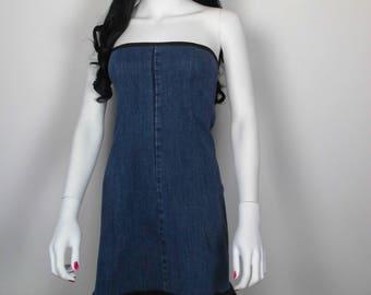 Denim and cotton dress