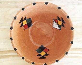 Vintage Southwestern Glazed Bowl // Pottery, vintage, Santa Fe, Native American, Salad bowl, Mixing bowl, Serving Bowl