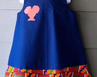 Navy Blue Jumper with African Kente Print Trim