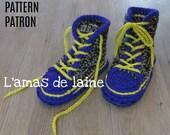 Patron de crochet Pantoufles San's JUNIOR High Top Slippers - Basket, souliers, chaussures, enfant - fichier pdf, téléchargement numérique