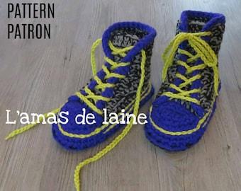 San's JUNIOR High Top Slippers crochet pattern - shoes, sneakers, basket, footgear, footwear, feet - pdf file, digital download ONLY