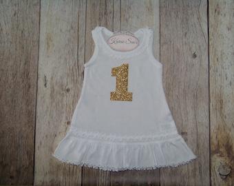 First Birthday Dress / White / Gold Glitter / Princess Birthday Dress / 1st Birthday Dress / Cake Smash Outfit / Infant / Baby/ Girl/Toddler