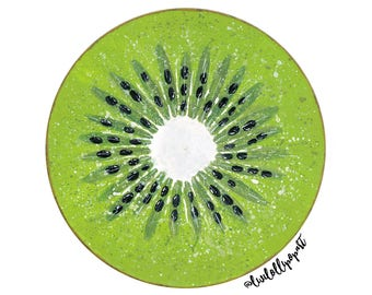 Kitchen wall art, kitchen wall decor, kiwi painting, kitchen gift, kiwi art, green wall art, vinyl record art, housewarming gift, fruit art