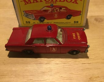 Original Matchbox Ford Galaxie Fire Chief 59 Lesney Made in England in Original Box