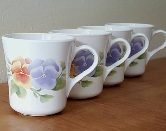Corelle Summer Blush Corning Mugs~Set of 4 White Glass Coffee Cups with Pansy Flowers~Made By Corning Microwavable~1995 to 2004 Made in USA