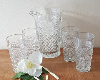 Wexford Pitcher and Glasses by Anchor Hocking