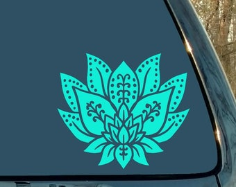 Lotus Decal, Lotus Flower, Boho Decal, Yoga Sticker, Meditation, Zen, Plant, Car Decal, Laptop Sticker, Woman Gift, Vinyl