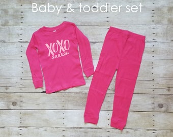 Kids Pajamas - Girls Pajamas - Valentine's Day Gift - Toddler Pajamas - Flannel Pajamas - Cute Pajama Sets - Cute Pjs - Toddler Girl Pajamas
