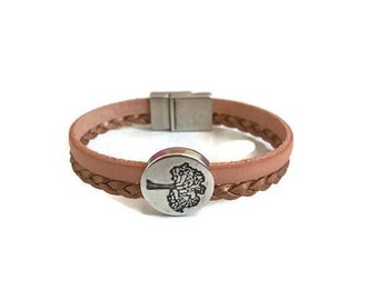 Leather Bracelet, Tree of Life, Braided Leather, Pastel Orange, Metallic Copper leather, Magnetic Closure, Antique Silver, Gifts for Her