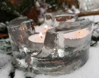 Fire and Ice Vintage German Mid Century Lead Crystal Food Warmer Hot Plate Tealight Candle Warmer Dining Table Shipping Included