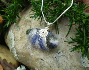Felted Wool Pendant Necklace, Wire Wrapped, Unique One of a Kind Gift for Her, Made with Wool