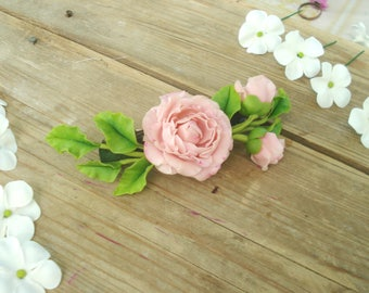 Pink peony flower hair barrette, wedding accessories, clay flowers, ceramic floristry, cold porcelain, tender peony, romantic,