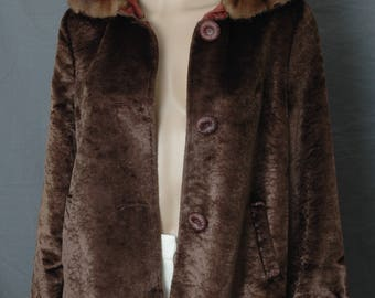 Vintage Faux BROADTAIL FUR Jacket w. real MINK Collar Small
