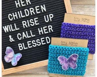 SALE--Floating Butterfly cup cozy, Cup cozy, Reusable cup sleeve, Teacher gifts, Mother's Day gift, coffee cup sleeve, coffee cozy