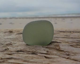 "Genuine Perfectly smoothed flawless Olive Green Thick Sea Glass piece-long-0.94""-Rare Sea Glass-Jewelry quality-Pendant size Sea Glass#J9"