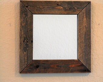 "16"" Rustic Reclaimed Wood Mirror - decorative mirror, bathroom mirror, bedroom mirror, upcycled, recycled wood, wall mirror, vanity mirror"