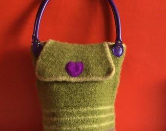 Large felted purple handbag, boho hippy