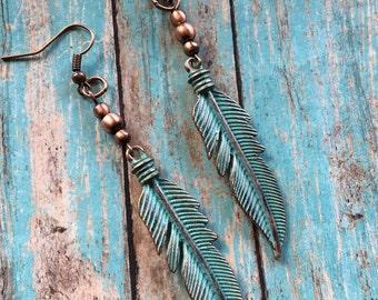 Blue Feather Earrings, Southwest Boho Earrings, Southwest Jewelry, Boho Jewelry, Boho Earrings, Southwestern Earrings, Hippie Jewelry