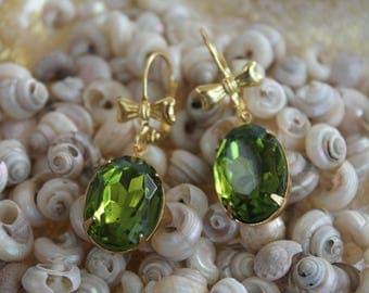 Large oval shaped Olivine Green Vintage Glass Dangle earings