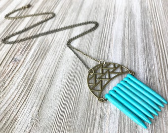 Turquoise Spike Pendant Necklace // Long Necklace // Natural Stone Necklace // Unique Long Necklace // Modern Necklace // Boho Necklace
