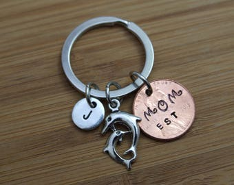 Dolphins Key Chain, Personalized Mom Penny Key Chain, Good Luck Penny,Personalized Key Chain, Mom Accessory, Gift for Mom, Gift Under 10
