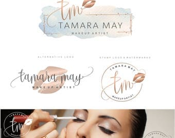 Makeup Logo Design, Lips Logo Design, Rose gold Branding kit, Make up Branding Package, Boutique logo, Lip sense Logo watermark, lips 138