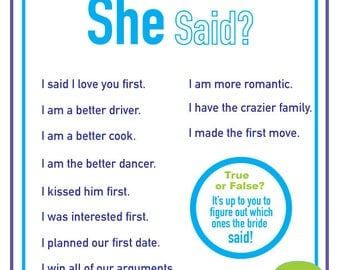 That's What She Said Bridal Shower Game