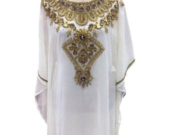 White Kaftan floor length Dress