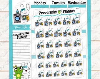 Jellybean washing clothes --- hand drawn planner stickers --- 572
