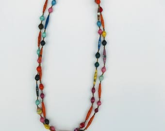 Bronze beaded multi color necklace.