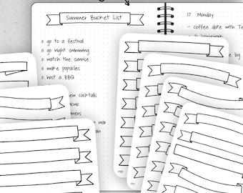 Banner Stickers, Blank Banner Stickers, Header Stickers - Journalspiration Bullet Journal Planner Stickers - 7 versions