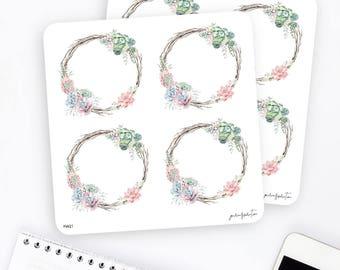 FW21 | Wreath Sticker | Decorative Sticker | Watercolor Sticker | Succulent Sticker | Planner Stickers | Bullet Journal Stickers
