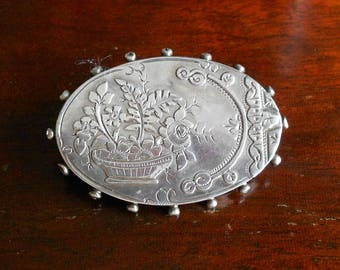Hallmarked Victorian Silver Brooch, Oval With Floral Decoration and C Clasp