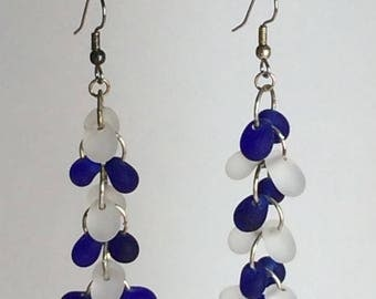 Drop Earrings with Frosted Clear and Cobalt Beads