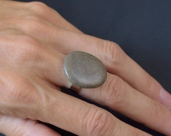 Natural stone ring and non-allergenic stainless steel # 10/16-78