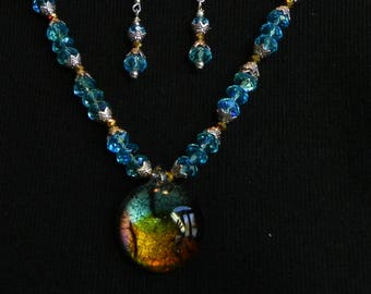Handmade Glass Focal Necklace and Earring Set