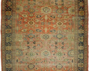 "Rug #752 - Antique distressed Persian Sultan Abad rug. 7'1""x 10'2"""