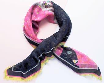 Bright Pink Navy Yellow Boho Printed Square Cotton Modal Scarf 90x90cm