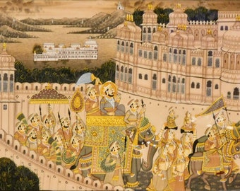 Indian painting on silk of a procession with elephants and dancing girls