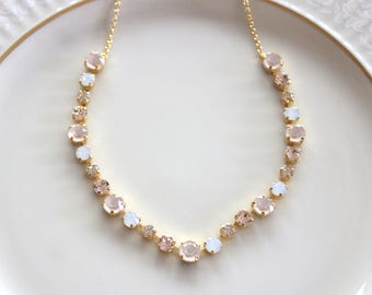 Gold necklace, Bridal necklace, Bridal jewelry, Swarovski necklace, Wedding necklace, Champagne crystal necklace, Bridesmaid necklace, Opal