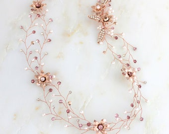 Rose gold hair vine, Wedding headpiece, Bridal hair vine, Wedding hair accessory, Swarovski hair vine, Crystal hair piece, Blush hair vine