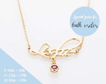 Birthstone Necklace, Monogram Necklace, Personalized Birthstone Name Necklace, Birthstone Jewelry, Birthstone Gifts, Gold, Silver,Rose gold