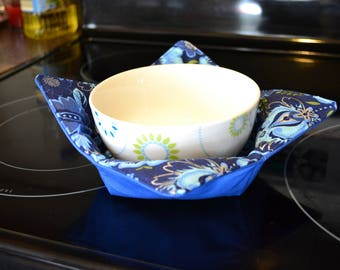 Blue floral bowl cozy -  set of 2