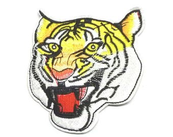 Large Tiger Head Patch, Tiger Iron on Patch, Tiger Head Iron on Patch, Tiger Patches, Tiger Appliqué - H1144