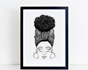 Black and White Wall Art. Afro Print. Natural Hair Art. African Headwrap.