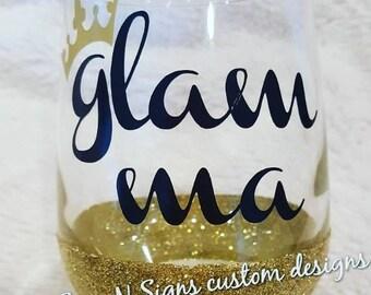 Glam-ma Glitter Wine Glass
