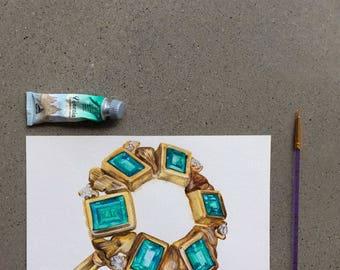 Emerald Ring Original Watercolour Illustration