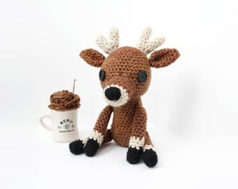 Crochet Brown Deer Doll – stuffed animal toy, handmade to order