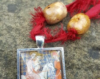 Medieval Mary and Jesus red necklace, Unusual jewellery, Recycled, Flight into Egypt, Assemblage, Necklace, Sari, Handmade, Gift for her